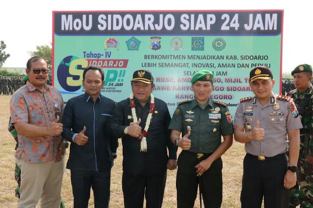 UPACARA LAUNCHING SIDOARJO SIAP 24 JAM DI LAPANGAN KODIM 0816