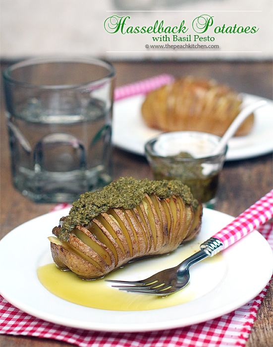 Hasselback Potatoes with Basil Pesto | www.thepeachkitchen.com