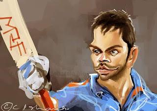 virat, kohli, illustration, caricature, art, indian, cricket, team