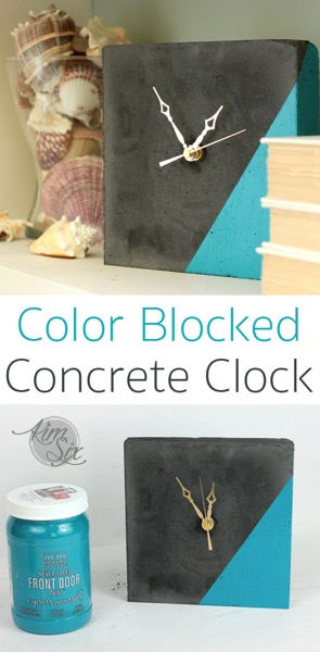 Color Blocked Concrete Clock Easy DIY