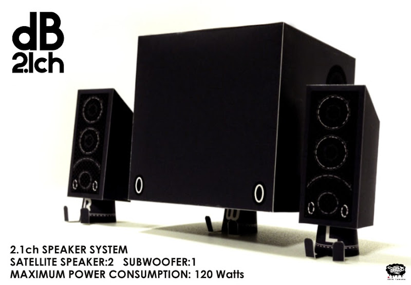dB 2.1ch Speaker System Paper Toy