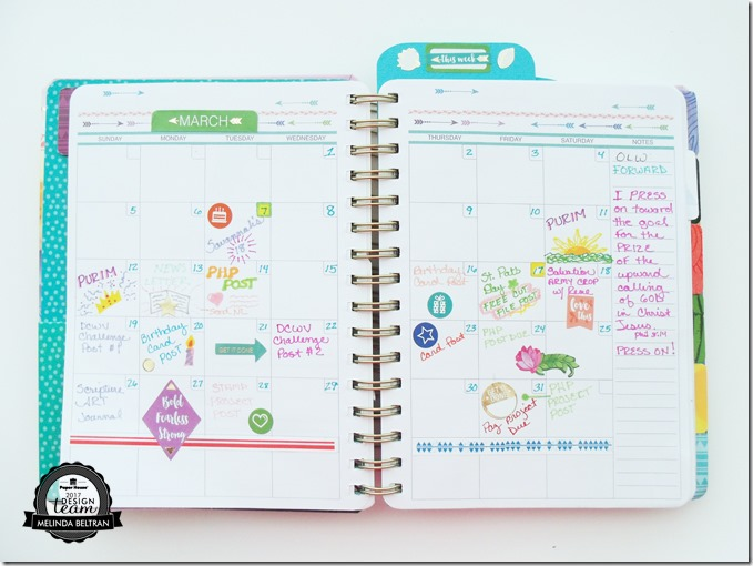Paper House Productions March Planner Month View