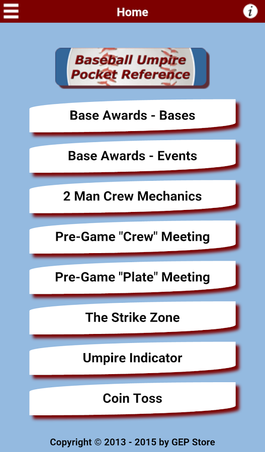 Baseball Umpire Pocket Ref- screenshot