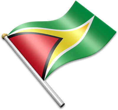 The Guyanese flag on a flagpole clipart image