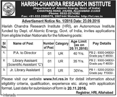 Harish Chandra Research Institute Advertisement 2016 www.indgovtjobs.in