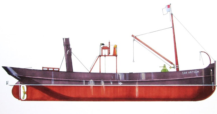 Vapor SAN ANTOLÍN perfil de plano del Museo Marítimo de Bilbao. El Ilustrador de Barcos .jpg