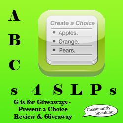 ABCs 4 SLPs: G is for Giveaways - Present a Choice Review and Giveaway image