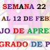 Plan de trabajo semana 22 de tercer  grado, del 8 al 12 de febrero.