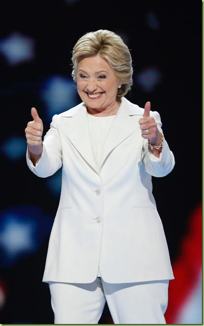 hillary white thumbs up