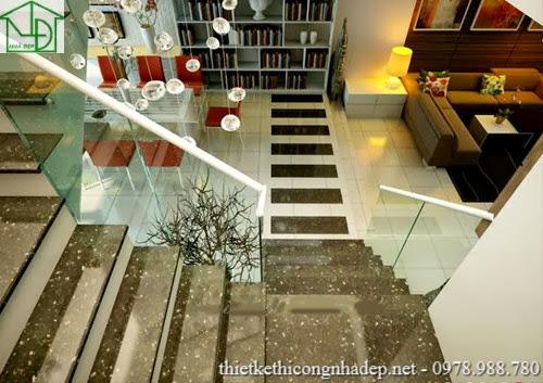 Cầu thang được thiết kế ngay phòng bếp và phòng ăn