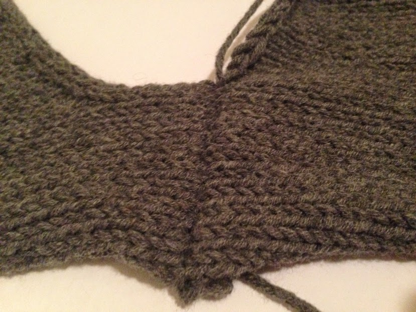 Completed shoulder seam with mattress stitch, right side.