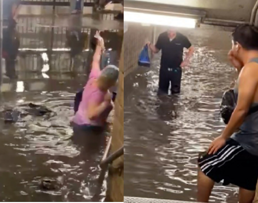 Commuters wade through dirty water as subway stations in New York flood following heavy rain (video)