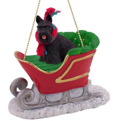Scottish Terrier Sleigh Dog Christmas Ornament