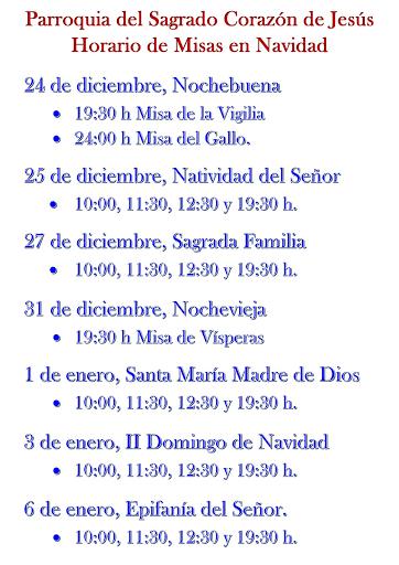 Horarios de las misas de Navidad