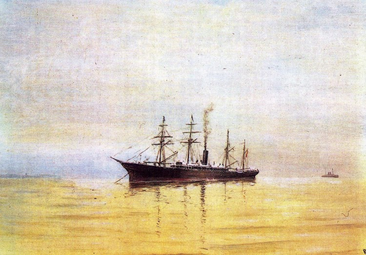 Acuarela de González Echegaray del vapor ALFONSO XIII. Del libro El Puerto de Santander.JPG