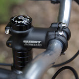 Standard Quest stem from The Bike Shop, Harrow. Headset is a Cane Creek S1.
