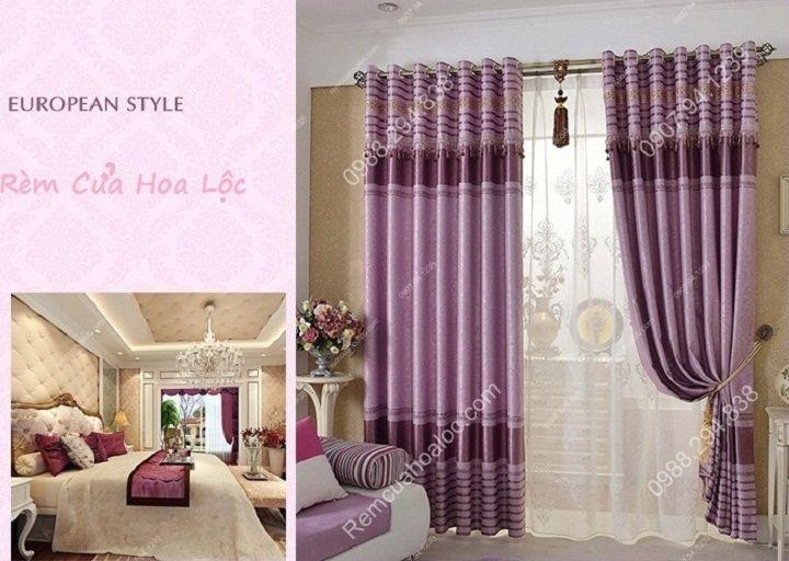 Rèm cửa cao cấp đẹp một màu tím diềm 2