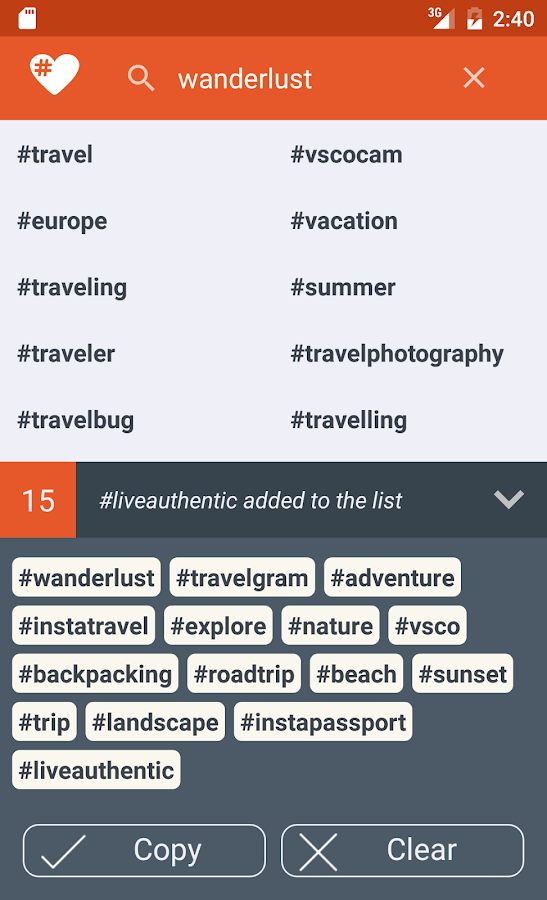 Letstag - Instagram hashtags- screenshot