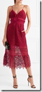 Self Portrait ruffled red Guipure lace dress