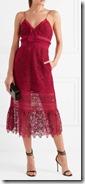 Self Portrait ruffled red Guipure lace dress