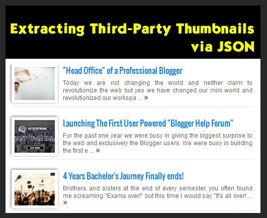 Recent Posts widget with Third Party Blogger Thumbnails