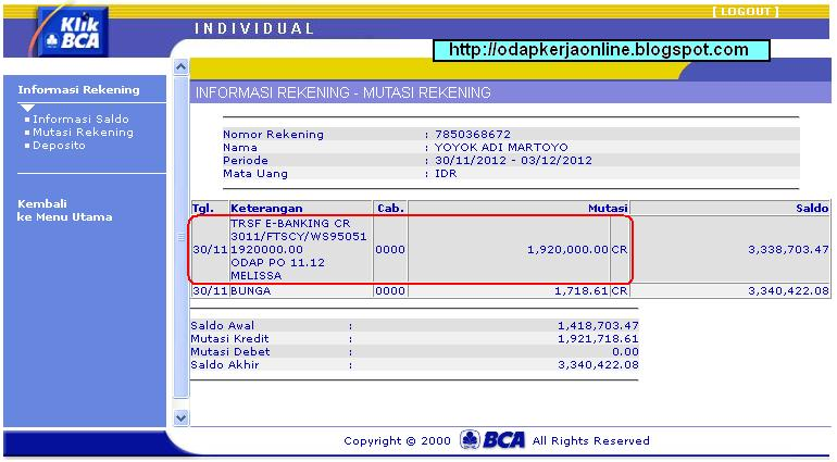 Bukti Transfer Pembayaran ODAP Bulan November 2012