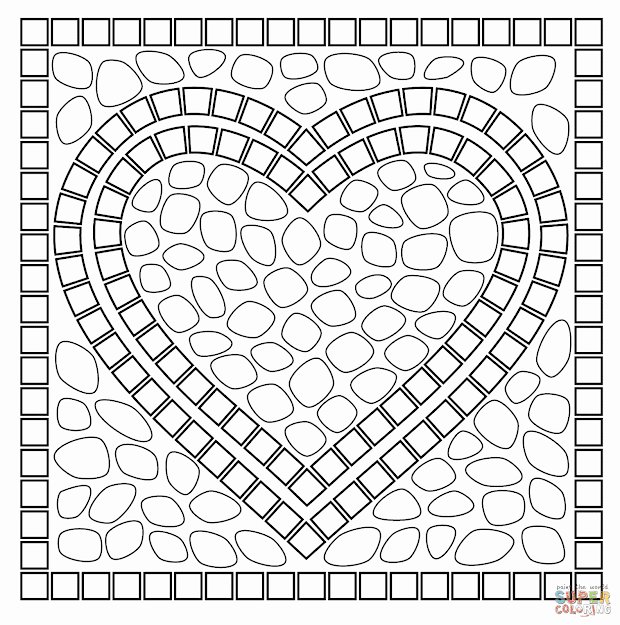 Mosaic Heart Coloring Page From Mosaic Category Select From   Printable Crafts Of Cartoons Nature Animals Bible And Many More