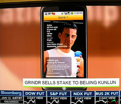 GRINDR gay date app shown on Bloomberg West cable TV business news show Jan. 12, 2016 3:07PM PT