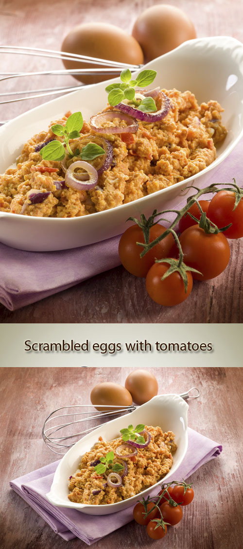 Stock Photo: Scrambled eggs with tomatoes