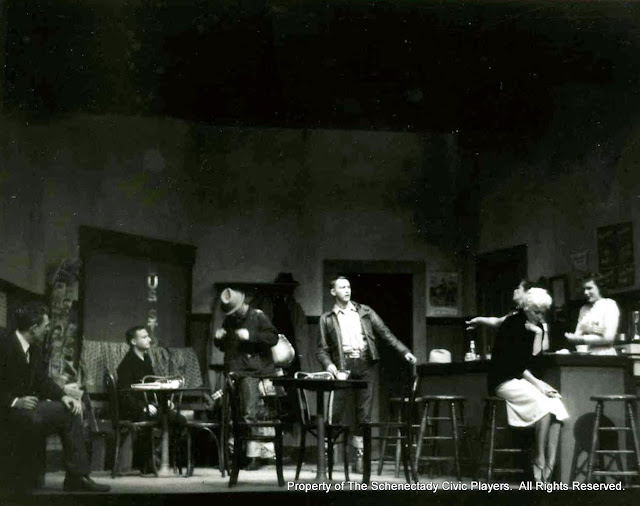 John Varnum, Jerry Rice, Carleton Hawthorne, Warren Stewart, Harriet McMullen, Helen Rudsill and Cindy Brown in BUS STOP - January 1958.  Property of The Schenectady Civic Players Theater Archive.