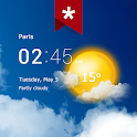 Transparent clock and weather (Ad-free) icon