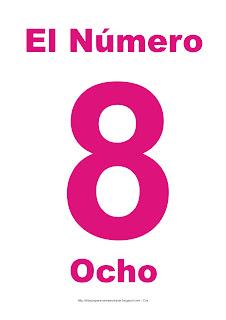 Lámina para imprimir el número ocho en color magenta
