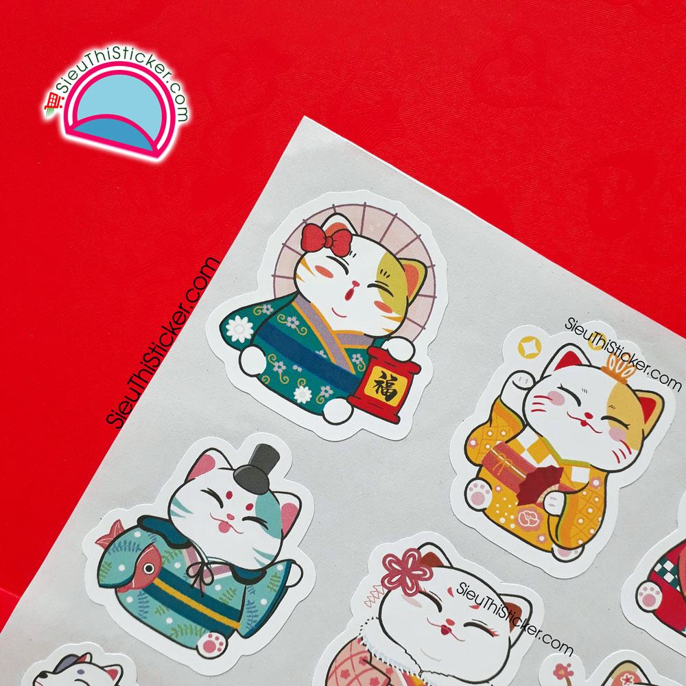 tem giấy mèo thần tài trang trí hộp quà
