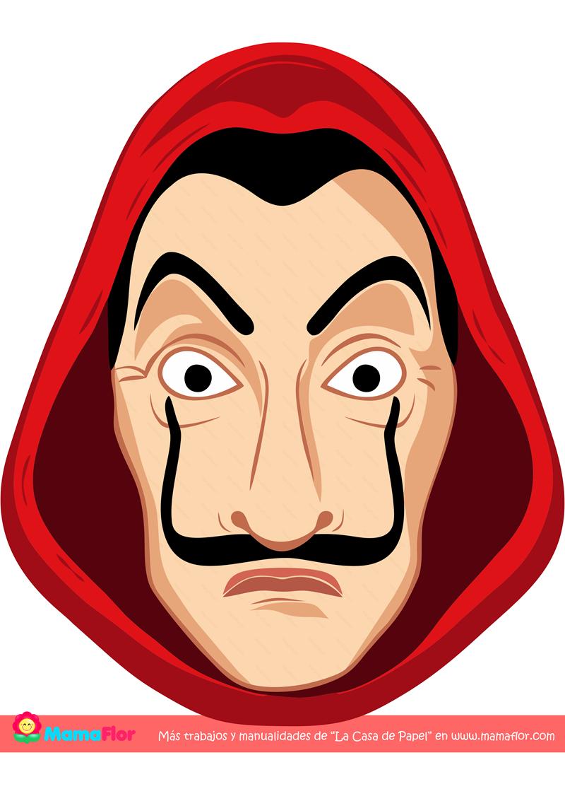 Imprimible: Máscara de Dalí con la Capucha Roja
