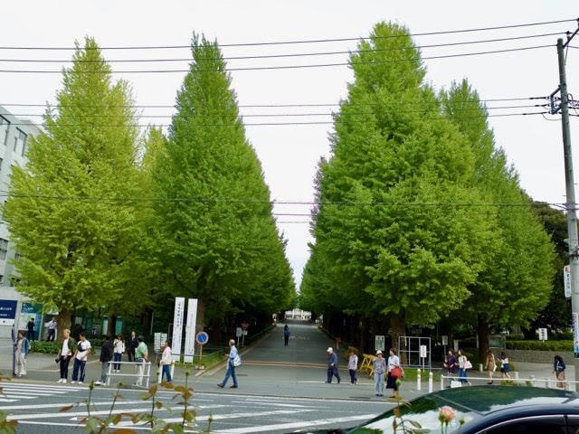 日吉駅前の慶應義塾大学日吉キャンパスの外観