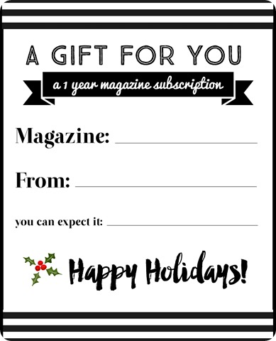 happy holidays magazine subscription gift