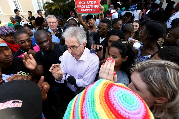 UCT's Vice Chancellor Dr Max Price interacts with students.