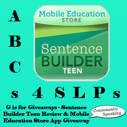 ABCs 4 SLPs: G is for Giveaways: Sentence Builder Teen Review and Mobile Education Store Application Giveaway image