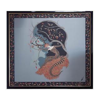 Erté Framed Tiger Lily Silk Scarf