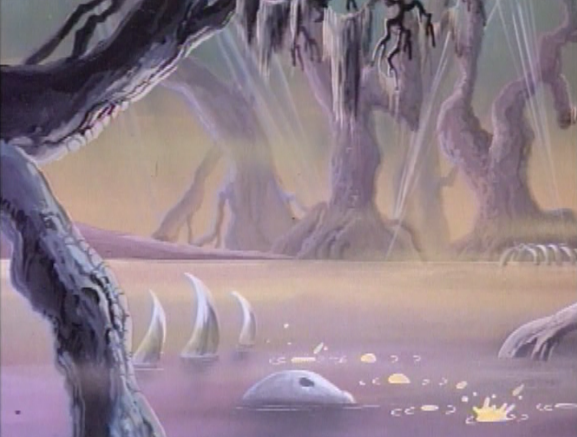 A bubbling swamp, complete with skeletons