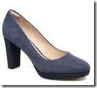 Clarks blue suede platform court shoe
