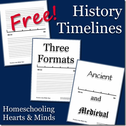 Free printable history timelines at Homeschooling Hearts & Minds