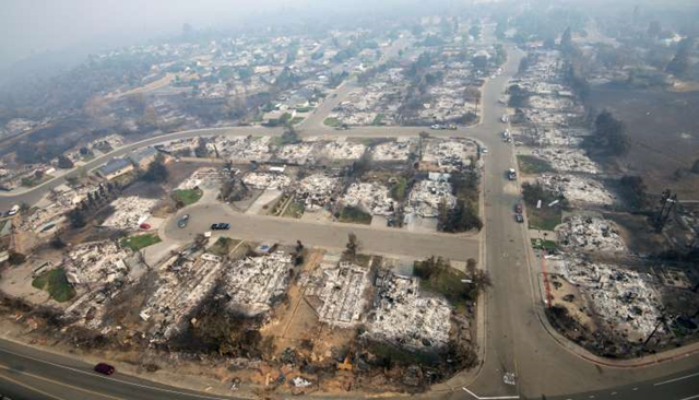 Burned down remains of homes are seen from an areal photo in the Keswick neighborhood of Redding on 10 August 2018. Fire crews have made progress against the biggest blaze in California history but officials say the fire won't be fully contained until September. Photo: Michael Burke / AP Photo