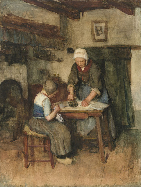 Albert Neuhuys - Interior with Woman Ironing and Sewing Child