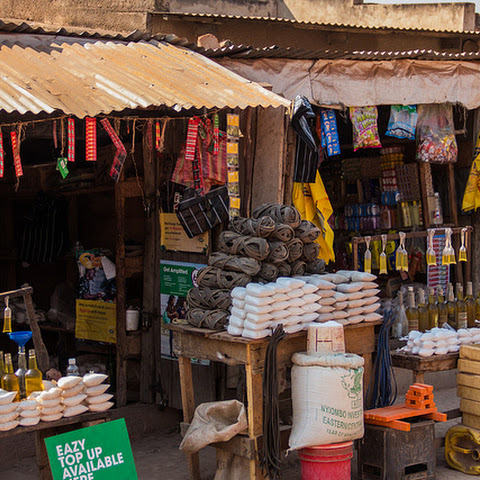 Many street shops sell small quantities of all kinds of goods.