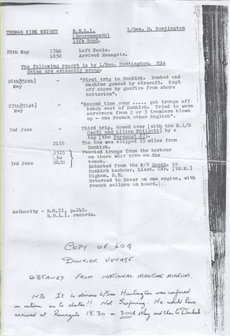 A photocopy of Leading Seaman Huntington's Dunkirk log from June 1940, held in the National Maritime Museum, Falmouth, Cornwall