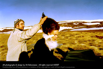 """Photo: SPACE QUEEN SURFING in Iceland, 2000. © concept & photo by jean-marie babonneau all rights reserved www.betterworldinc.org  model: sara dögg jakobsdóttir (eskimo models) """"making of"""" photo by ómar sverrisson"""