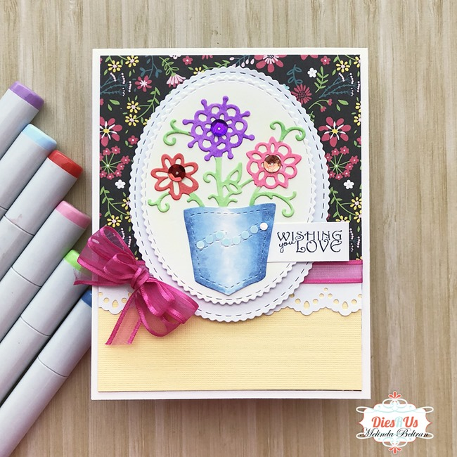 flowers in pocket die card