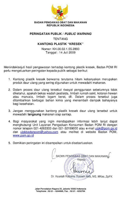 BPOM RI: larangan memakai kantong plastik hitam untuk makanan