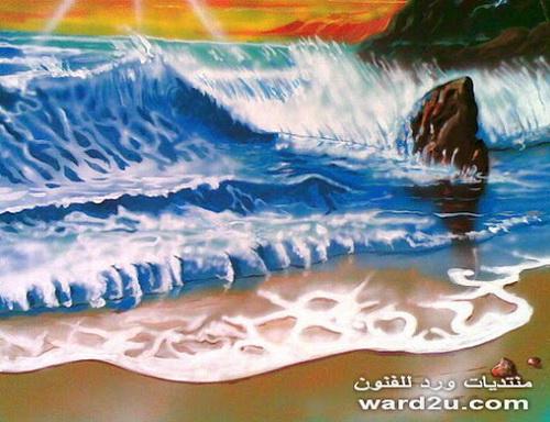 رسم على الجدار شاطئ من أعمالى الوان اكريلك